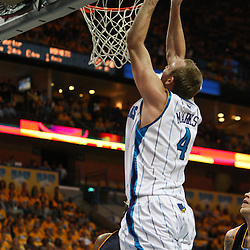 25 April 2009: New Orleans Hornets forward Sean Marks (4) dunks during a NBA Western Conference quarter-finals playoff game between the New Orleans Hornets and the Denver Nuggets at the New Orleans Arena in New Orleans, Louisiana.