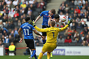 Steven Davies (19) header goes close during the EFL Sky Bet League 1 match between Milton Keynes Dons and Rochdale at stadium:mk, Milton Keynes, England on 11 March 2017. Photo by Daniel Youngs.