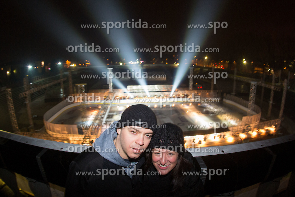 Jerry Kuhn of HDD Telemach Olimpija and Amanda Lynea Bagozzi at preparation of stadium Bezigrad for Winter Classic of HDD Olimpija Ice Fest 2013, on January 2, 2013 in Stadium Bezigrad, Ljubljana, Slovenia. (Photo By Matic Klansek Velej / Sportida.com)