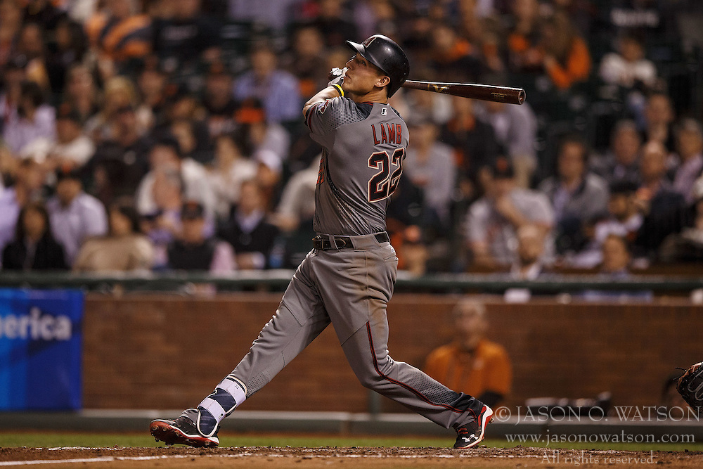 SAN FRANCISCO, CA - APRIL 18: Jake Lamb #22 of the Arizona Diamondbacks at bat against the San Francisco Giants during the fifth inning at AT&T Park on April 18, 2016 in San Francisco, California. The Arizona Diamondbacks defeated the San Francisco Giants 9-7 in 11 innings.  (Photo by Jason O. Watson/Getty Images) *** Local Caption *** Jake Lamb