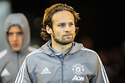 Daley Blind of Manchester United arrives at the stadium, ahead of the EFL Cup match between Swansea City and Manchester United at the Liberty Stadium, Swansea, Wales on 24 October 2017. Photo by Andrew Lewis.