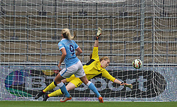 MANCHESTER, ENGLAND - Sunday, August 30, 2015: Manchester City's Toni Duggan scores a penalty against Liverpool during the League Cup Group 2 match at the Academy Stadium. (Pic by Paul Currie/Propaganda)
