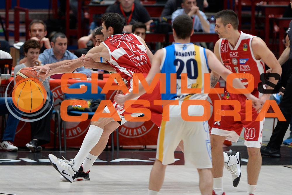 Davide Pascolo,Nikola Ivanovic<br /> Olimpia EA7 Emporio Armani Milano vs Vanoli Cremona<br /> Lega Basket Serie A 2016/2017<br /> PlayOff semifinale gara 2<br /> Milano 14/05/2017<br /> Foto Ciamillo-Castoria / I.Mancini