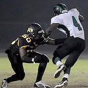 Topsail's Jakeem Smith attempts to tackle West Brunswick's Tavon Stanley. (Jason A. Frizzelle)
