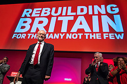 © Licensed to London News Pictures. 26/09/2018. Liverpool, UK. Labour Party Leader Jeremy Corbyn delivers his closing speech at the Labour Party Conference. Photo credit: Rob Pinney/LNP