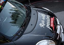 09.07.2015, Matrei, AUT, Österreich Radrundfahrt, 5. Etappe, Drobollach nach Matrei in Osttirol, im Bild Vom Hagel beschädigtes Teamauto des Tirol Cycling Team // Team car of Tirol Cycling Team during the Tour of Austria, 5th Stage, from Drobollach to Matrei in Osttirol, Matrei, Austria on 2015/07/09. EXPA Pictures © 2015, PhotoCredit: EXPA/ Reinhard Eisenbauer