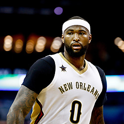 Mar 3, 2017; New Orleans, LA, USA; New Orleans Pelicans forward DeMarcus Cousins (0) against the San Antonio Spurs during the second quarter of a game at the Smoothie King Center. Mandatory Credit: Derick E. Hingle-USA TODAY Sports