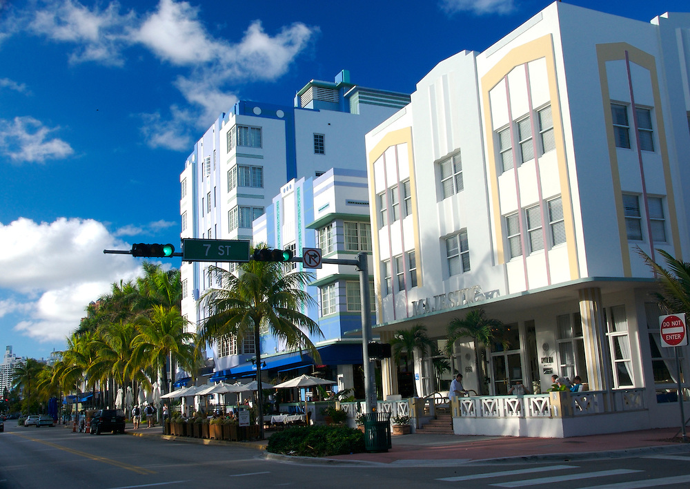 Ocean Drive and 7th Street corner in South Beach in Miami, Ocean Drive is a tourist attracion in Miami.