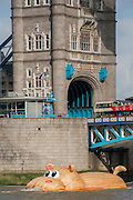 'HippopoThames' passes Tower Bridge - a 21-metre-long hippo sculpture, by Dutch artist Florentijn Hofman (best known for his Rubber Duck installation) is towed upriver to Nine Elms on the South Bank. It is his first UK commission Stepped access to the foreshore, near St George's Tower,  will be available for three hours a day at low tide throughout September.
