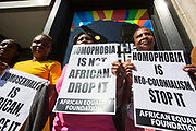 UNITED KINGDOM, London: 19 April 2018. LGBT rights activists hold a protest outside of the Commonwealth Heads of Government meeting. The protest, which was held outside of the Commonwealth Secretariat, was against the continued criminalisation of homosexuality in Commonwealth countries. Rick Findler / Story