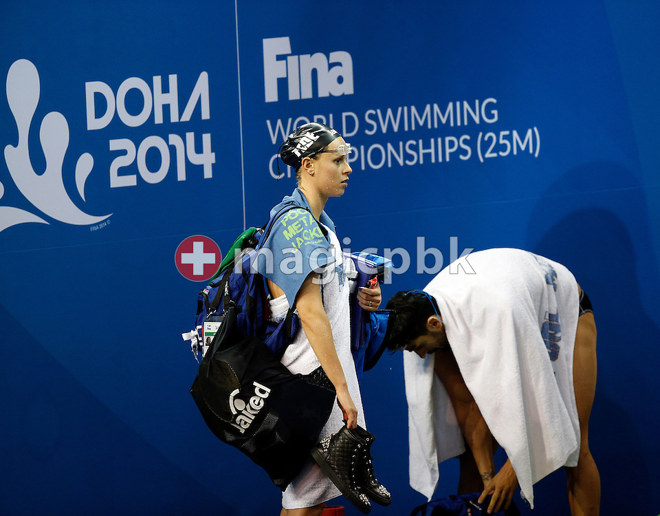 Federica PELLEGRINI (L) and Filippo MAGNINI of Italy prepare to move to the training pool during a training session 2 days prior to the start of the 12th Fina World Short Course Swimming Championships held at the Hamad Aquatic Centre in Doha, Qatar, Monday, Dec. 1, 2014. (Photo by Patrick B. Kraemer / MAGICPBK)