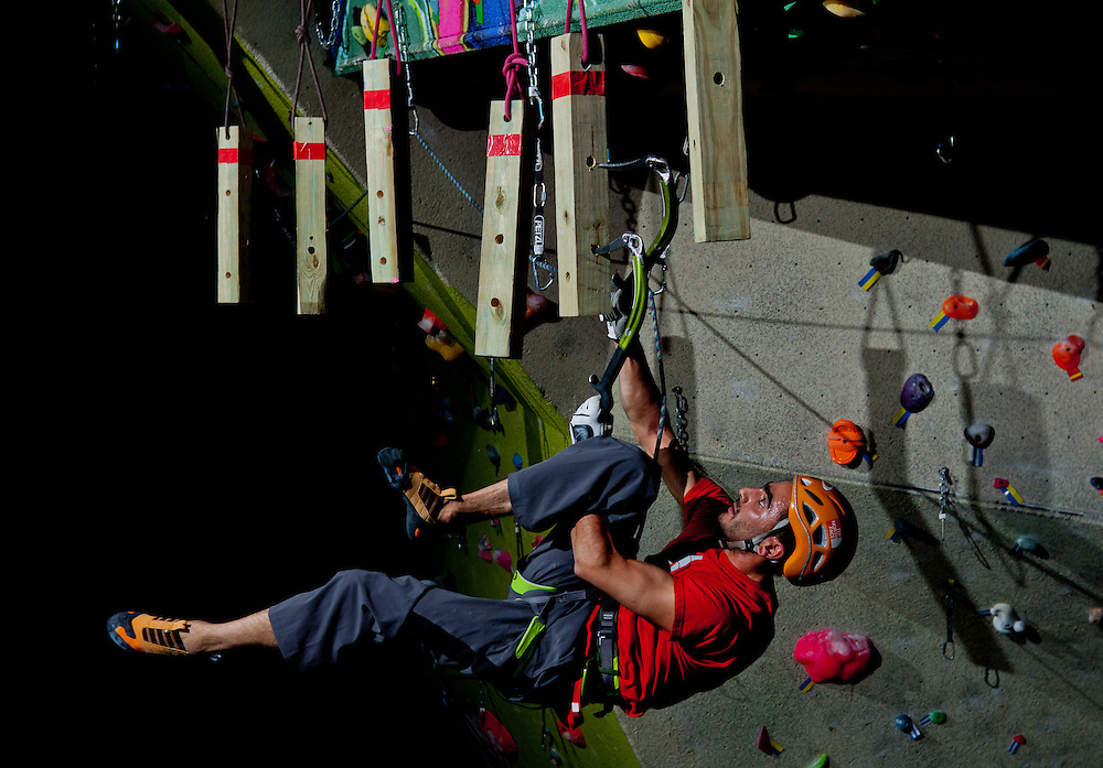 Professional climber Sam Elias competes in City Rock's Ice Night competition, Colorado Springs, CO