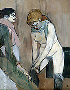 Woman Pulling on a Stocking', 1894. Red-headed woman dressing,  attended by a maid.  Henri de Toulouse-Lautrec (1864-1901) French artist. Post-Impressionist Art Nouveau