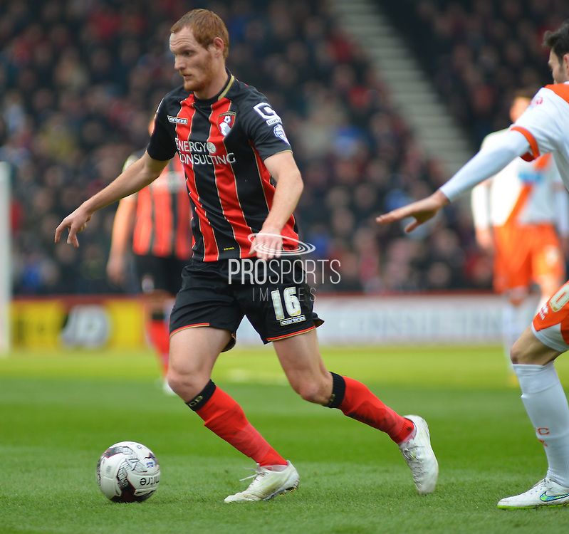 AFC Bournemouth's Shaun MacDonald on the ball during the Sky Bet Championship match between Bournemouth and Blackpool at the Goldsands Stadium, Bournemouth, England on 14 March 2015. Photo by Mark Davies.