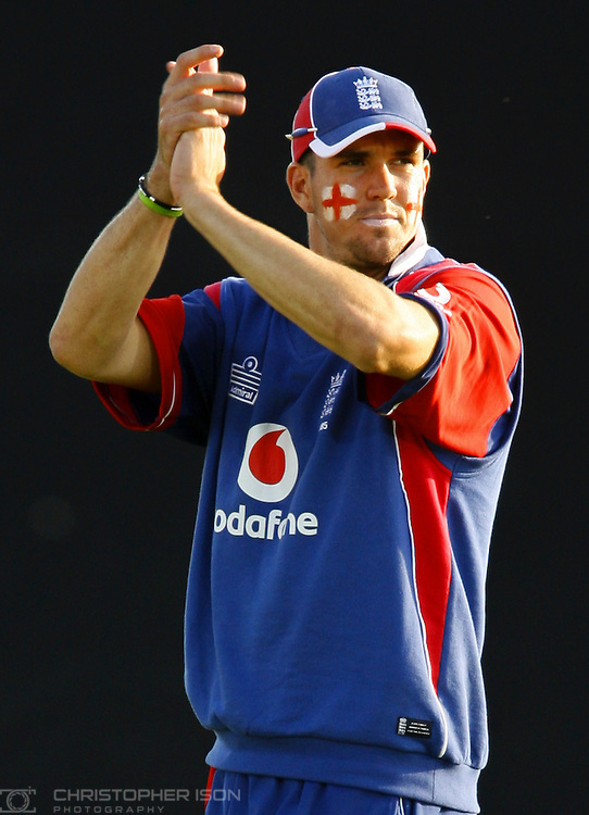 England cricketer Kevin Peitersen with the Cross of St George on each cheek as his side face Sri Lanka in a NatWest International Twenty20 match at the Rose Bowl cricket ground near Southampton, Hampshire.
