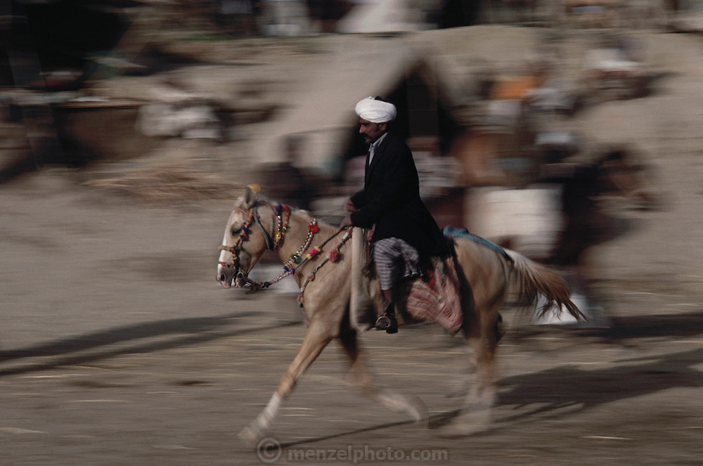 A rider showing off his horse at the Mallinath Fair, one of the biggest cattle fairs of Rajasthan that lasts for two weeks. It is held annually in the desert near Tilwara, a village in Rajistahan (March-April). Highly popular breeds of cows, camels, sheep, goats and horses attract people not only from Rajasthan but also Gujarat and Madhya Pradesh. Rajasthan, India.