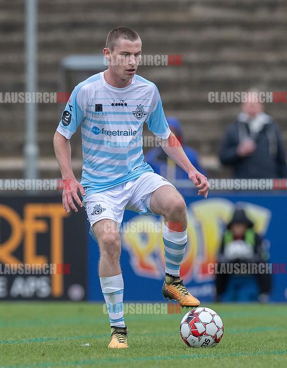 Dalton Wilkins (FC Helsingør) under kampen i 2. Division mellem Slagelse B&I og FC Helsingør den 6. oktober 2019 på Slagelse Stadion (Foto: Claus Birch).