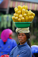 Bali Indonesia, October 2006. Women carry their produce on their head.  A local market in middle bali. The island of bali is mostly known for its tropical beaches but is also rich with hindu culture, colorful friendly people,  and beautiful landscapes. Photo by Frits Meyst/Adventure4ever.com