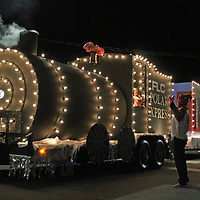 "FLC's ""Polar Express"" float makes it way down Amory Main Street at the Christmas parade."