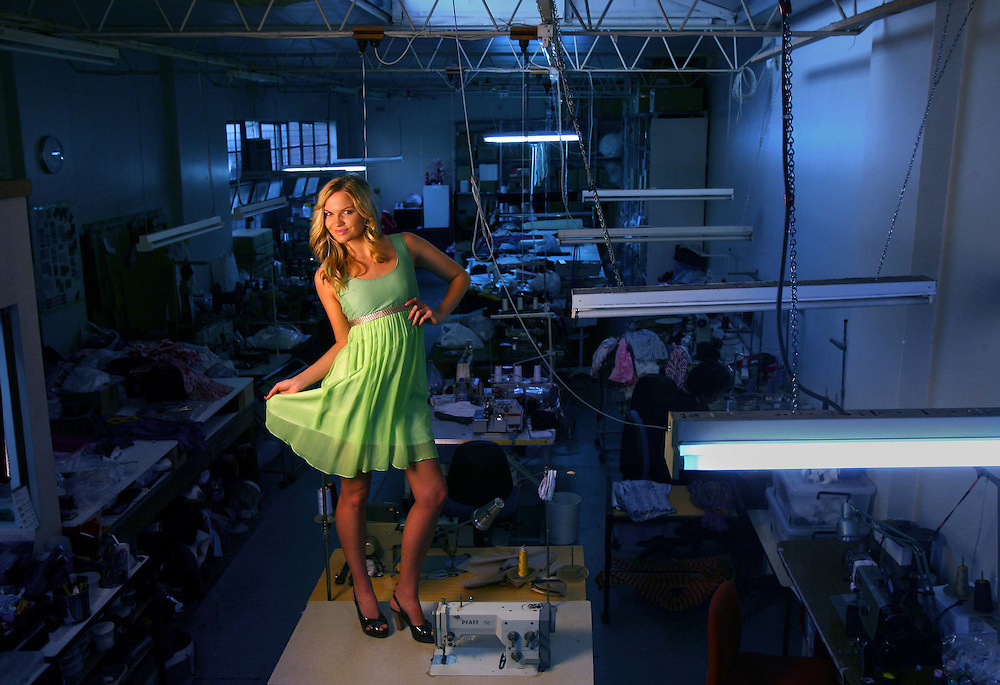 Model Ally Parry in an Amar dress in the factory where the dress was made  .Pic By Craig Sillitoe SPECIALX 000 melbourne photographers, commercial photographers, industrial photographers, corporate photographer, architectural photographers, This photograph can be used for non commercial uses with attribution. Credit: Craig Sillitoe Photography / http://www.csillitoe.com<br />