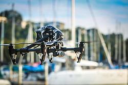 Drone Inspire 1, fabricado pela DJI sobrevoa os barcos no clube Veleiros do Sul, em Porto Alegre-RS. FOTO: Emmanuel da Rosa / Agência Preview