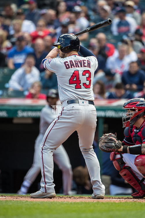 CLEVELAND, OH- SEPTEMBER 28: Mitch Garver #43 of the Minnesota Twins bats against the Cleveland Indians on September 28, 2017 at Progressive Field in Cleveland, Ohio. The Indians defeated the Twins 5-2. (Photo by Brace Hemmelgarn) *** Local Caption *** Mitch Garver