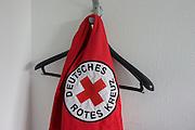 German Red Cross (Deutsches Rotes Kreuz - DRK) vehicle logos at their administrative HQ, 58 Carstennstrasse, Berlin.