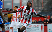 Omari Sterling-James celebrates scoring first goal during the Sky Bet League 2 match between Cheltenham Town and Portsmouth at Whaddon Road, Cheltenham, England on 20 December 2014. Photo by Alan Franklin.