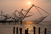 Chinese fishing nets in Kochi at sunset (India)