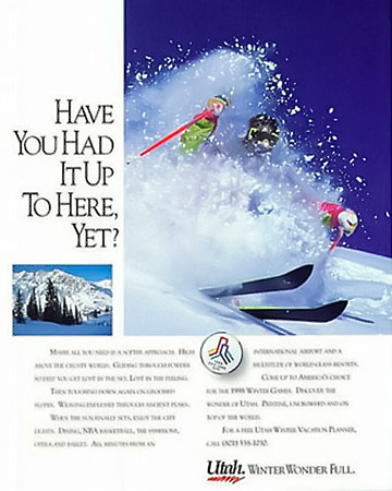 Magazine ad for Ski Utah to promote Utah ski industry