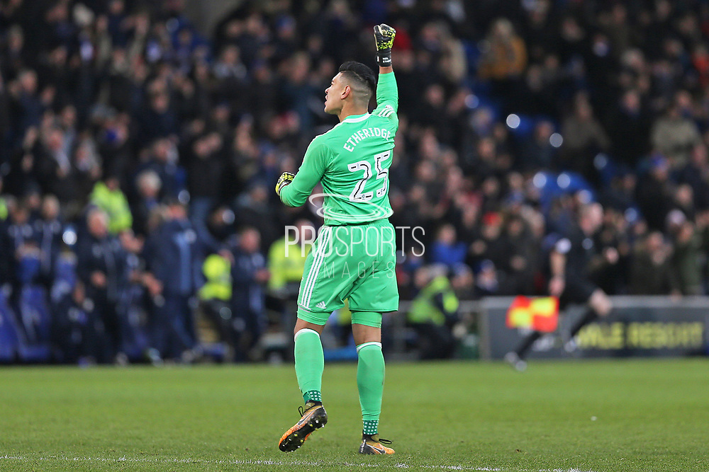 Cardiff City  Neil Etheridge (25) celebrates the 1-0 win over Hull City during the EFL Sky Bet Championship match between Cardiff City and Hull City at the Cardiff City Stadium, Cardiff, Wales on 16 December 2017. Photo by Gary Learmonth.