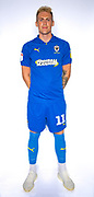 AFC Wimbledon midfielder Mitchell (Mitch) Pinnock (11) during the official team photocall for AFC Wimbledon at the Cherry Red Records Stadium, Kingston, England on 8 August 2019.