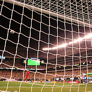 EAST RUTHERFORD, NEW JERSEY - JUNE 17: David Ospina #1 of Colombia watches as Christian Cueva #10 of Peru shoot over the bar in the penalty shoot out won by Colombia during the Colombia Vs Peru Quarterfinal match of the Copa America Centenario USA 2016 Tournament at MetLife Stadium on June 17, 2016 in East Rutherford, New Jersey. (Photo by Tim Clayton/Corbis via Getty Images)