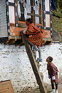 Two curious kids at the monastery of Taktshang. Paro, Bhutan.
