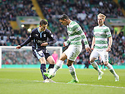 Dundee's Alex Harris takes on Celtic&rsquo;s Emilio Izaguirre -  Celtic v Dundee - SPFL Premiership at Celtic Park<br /> <br /> <br />  - &copy; David Young - www.davidyoungphoto.co.uk - email: davidyoungphoto@gmail.com