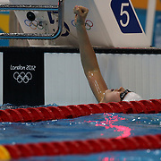 Liuyang Jiao, China, winning the Women's 200m Butterfly Final at the Aquatic Centre at Olympic Park, Stratford during the London 2012 Olympic games. London, UK. 1st August 2012. Photo Tim Clayton