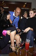 Fran Cutler, Christian Louboutain and Kate Moss.<br />party hosted by Harpers and Queen for Christian Louboutin 10 Anniversary. Met Bar. 16 October 2001. © Copyright Photograph by Dafydd Jones 66 Stockwell Park Rd. London SW9 0DA Tel 020 7733 0108 www.dafjones.com