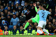 Manchester City defender Kyle Walker (2) tussles with FC Schalke 04 midfielder Yevhen Konoplyanka (11) during the Champions League round of 16, leg 2 of 2 match between Manchester City and FC Schalke 04 at the Etihad Stadium, Manchester, England on 12 March 2019.