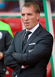 STOKE-ON-TRENT, ENGLAND - Sunday, August 9, 2015: Liverpool's manager Brendan Rodgers before the Premier League match against Stoke City at the Britannia Stadium. (Pic by David Rawcliffe/Propaganda)