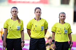 LLANELLI, WALES - Thursday, August 22, 2013: Petra Chuda and her assistants Sanja Rodjak Karsic and Svetlana Bilic during the Group B match of the UEFA Women's Under-19 Championship Wales 2013 tournament at Parc y Scarlets. (Pic by David Rawcliffe/Propaganda)