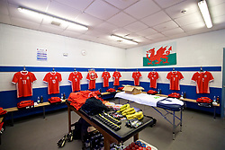 BANGOR, WALES - Monday, October 15, 2018: The Wales dressing room before the UEFA Under-19 International Friendly match between Wales and Poland at the VSM Bangor Stadium. (Pic by Paul Greenwood/Propaganda)