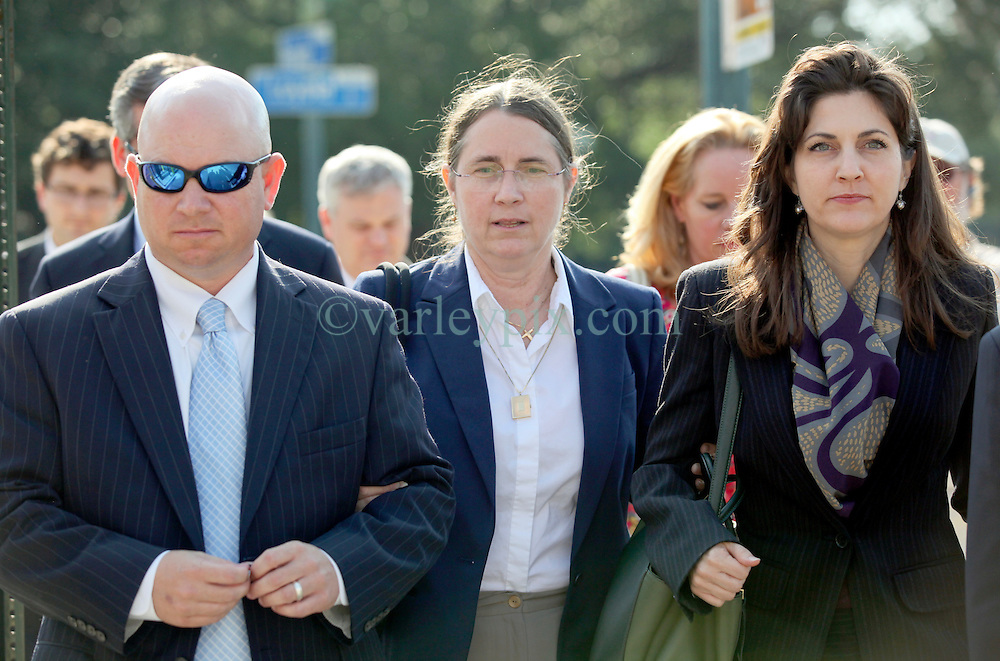 03 June  2015. New Orleans, Louisiana. <br /> L/R Ryan LeBlanc, his mother Renee LeBlanc and Rita Benson LeBlanc leave Civil Distrcit Court where they attended day 3 of a hearing to determine the competency of grandfather/father Tom Benson. Benson is the billionaire owner of the NFL New Orleans Saints, the NBA New Orleans Pelicans, various auto dealerships, banks, property assets and a slew of business interests. Rita, her brother and mother demanded a competency hearing after Benson changed his succession plans and decided to leave the bulk of his estate to third wife Gayle, sparking a controversial fight over control of the Benson business empire.<br /> Photo&copy;; Charlie Varley/varleypix.com