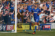 AFC Wimbledon striker Kweshi Appiah (9) celebrating after scoring goal during the EFL Sky Bet League 1 match between AFC Wimbledon and Bury at the Cherry Red Records Stadium, Kingston, England on 5 May 2018. Picture by Matthew Redman.