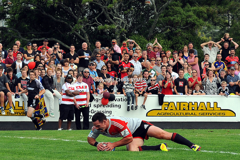 Crusaders Ryan Crotty scores a try during their Super Rugby Pre-season game Crusaders v Highlanders. Rugby Park, Greymouth, New Zealand. Friday 3 February 2012. Photo: Chris Symes/www.photosport.co.nz