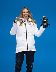 March 12, 2018 - Pyeongchang, South Korea - AMY PURDY of the US celebrates her silver medal win in Women's Snowboard Cross during a Medal Ceremony at the Medals Plaza for the 2018 Pyeongchang Winter Paralympic Games. Photo by Mark Reis (Credit Image: © Mark Reis via ZUMA Wire)