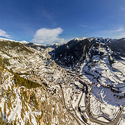 Village of Canillo panoramic view from observation deck, in Roc Del Quer trekking trail. Principality of Andorra.