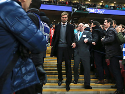 LONDON, ENGLAND - Sunday, February 28, 2016: Liverpool's manager Jürgen Klopp looks dejected after picking up his runners-up medal after losing on penalties to Manchester City during the Football League Cup Final match at Wembley Stadium. (Pic by John Walton/Pool/Propaganda)