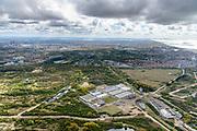 Nederland, Zuid-Holland, Wassenaar, 28-04-2017; Meijendel, natuurgebied tussen langs de Noorzeekust, ter hoogte van Wassenaar en Scheveningen. Tevens waterwingebied, in beheer bij Dunea. Radar Waalsdorpervlakte.<br /> Meijendel, nature reserve between the North Sea coast,between Wassenaar and Scheveningen. Also water extraction area, managed by Dunea.<br /> luchtfoto (toeslag op standard tarieven);<br /> aerial photo (additional fee required);<br /> copyright foto/photo Siebe Swart