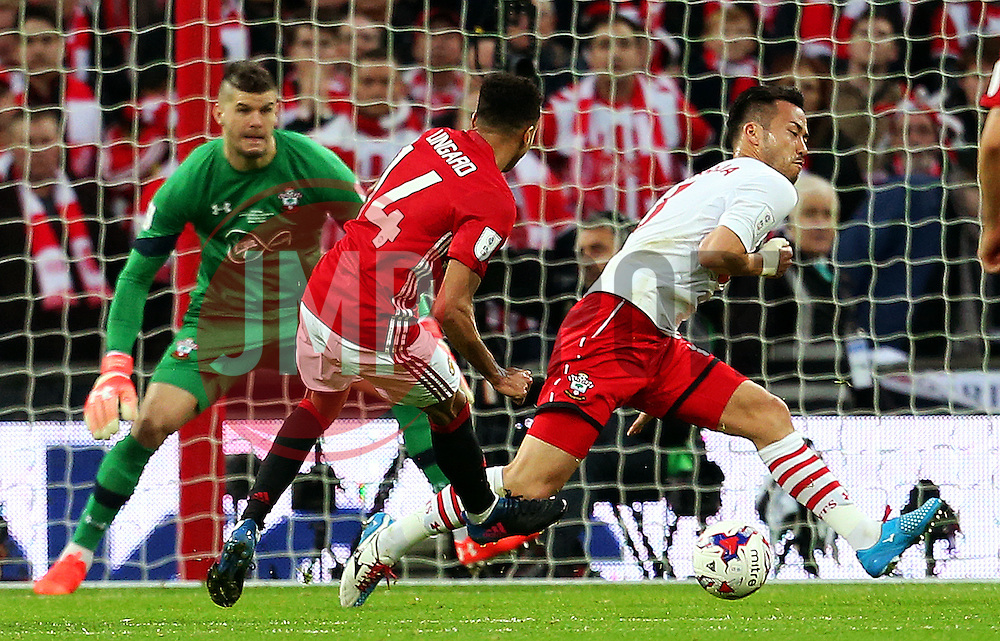 Jesse Lingard of Manchester United scores his sides second goal  - Mandatory by-line: Matt McNulty/JMP - 26/02/2017 - FOOTBALL - Wembley Stadium - London, England - Manchester United v Southampton - EFL Cup Final