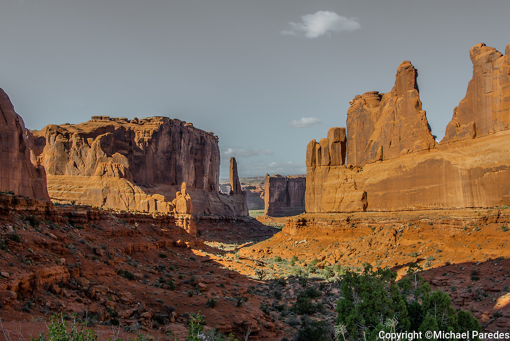 The view called Park Avenue at Arches National Park in Utah
